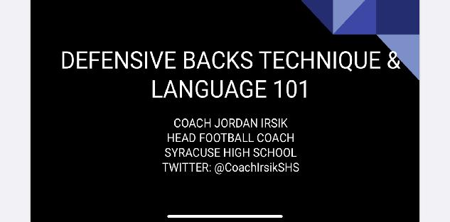 Defensive Backs Technique & Language 101