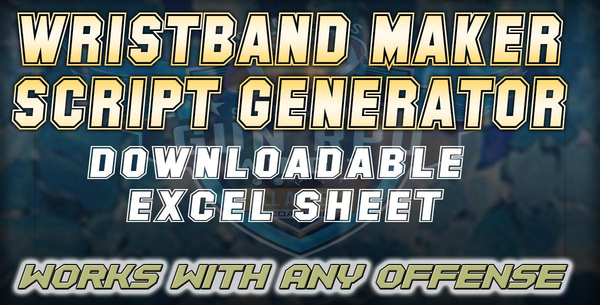 DOWNLOADABLE EXCEL WRISTBAND MAKER SCRIPT GENERATOR